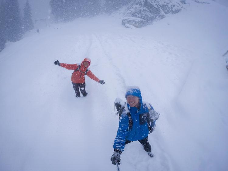 Trekking in knee deep snow in -20 degrees
